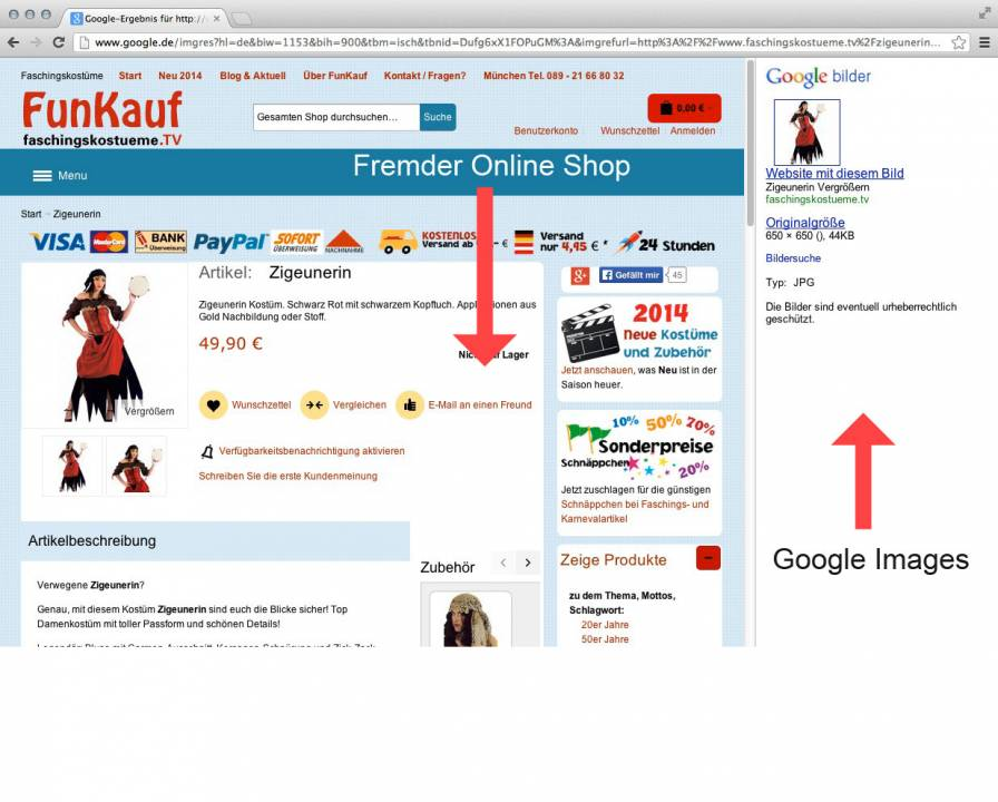 Screenshot iframe google images results problem checkout magento