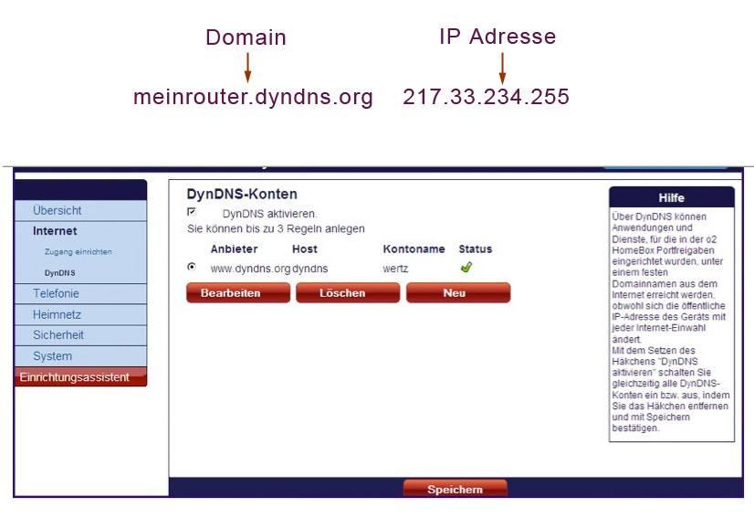 Bild über Routerkonfiguration mit dynamsichen DNS
