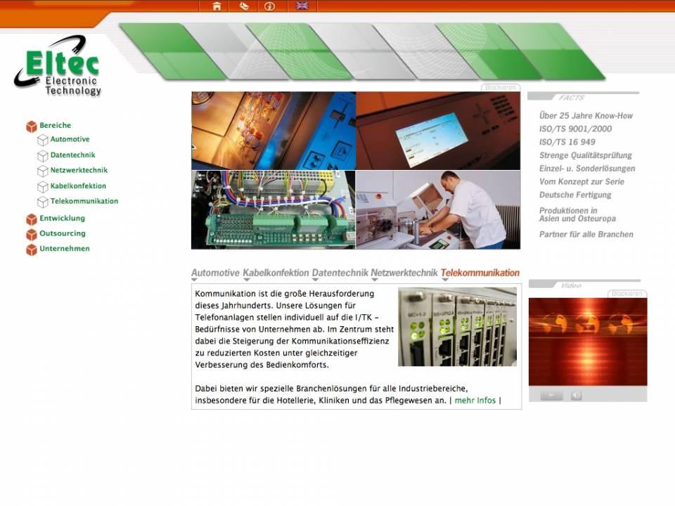 Screenshot Webdesign Eltec München