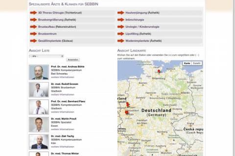 Screenshot Drupal Datenbanksuche Ärzte Suche